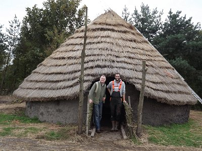 The Round House at Hall Farm overseen by Dave, built by Luke (pictured with Dave) and others.